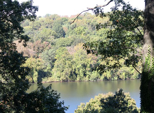 This photograph is of the beautiful view of the Schuylkill River from the back porch of Laurel Hill Mansion.