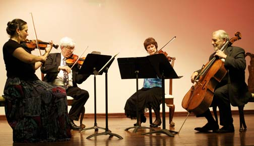 Photograph of the Wister Quartet.  The ensemble will play in the grand octagonal ballroom of the beautifully restored Laurel Hill Mansion on July 26, 2015.  Tickets may be purchased using pay pal here.