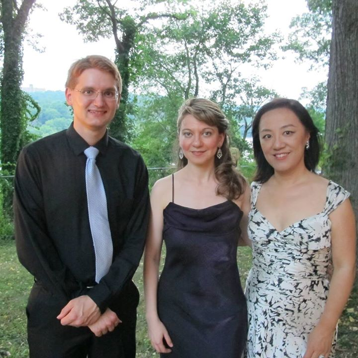 Photograph of Dolce Suono Ensemble at Laurel Hill Mansion on the occasion of their Sunday, July 13, 2014 concert sponsored by Woman for Greater Philadelphia. From left to right are Gideon Whitehead, guitar, Mimi Stillman, flute and Misoon Ghim, mezzo-soprano.