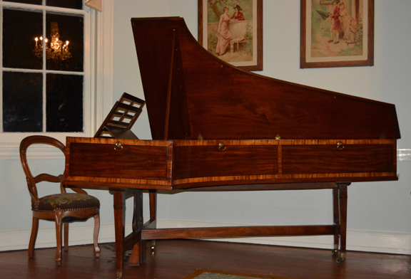 photograph of the beautiful pianoforte at Laurel Hill Mansion.  The pianoforte can be heard during the summer concert series at Laurel Hill Mansion